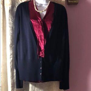St. John blue wool/silk/cashmere blend cardigan